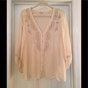 🌿Joie Ecru Silk Romantic Blouse embroidered L